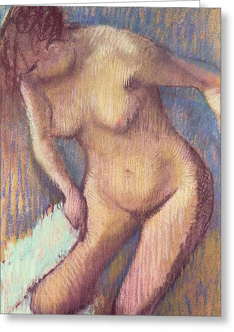 Figures Pastels Greeting Cards - Woman Drying Herself Greeting Card by Edgar Degas