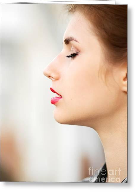 Female Body Greeting Cards - Woman Profile Greeting Card by Aleksey Tugolukov