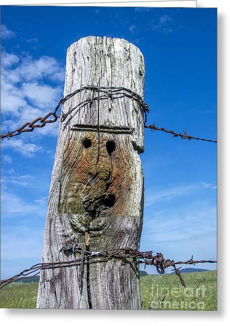 Wooden Post Greeting Card by Bernard Jaubert