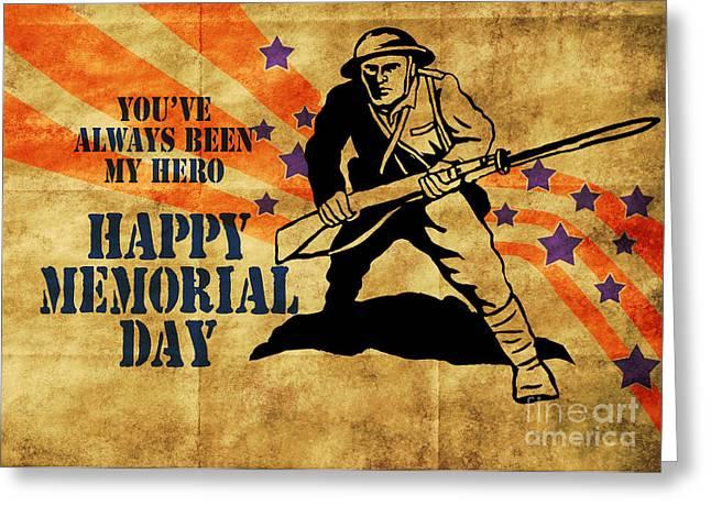 World War One Digital Greeting Cards - World War One American soldier  Greeting Card by Aloysius Patrimonio