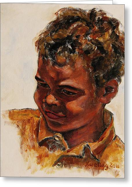 African-americans Greeting Cards - 4-Year-Old Talented Drummer Greeting Card by Xueling Zou