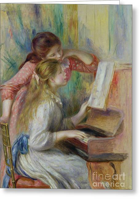 Young Girls At The Piano Greeting Card by Pierre Auguste Renoir