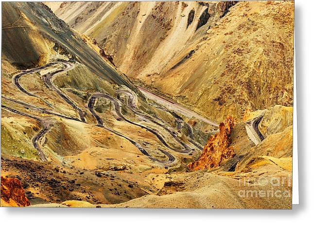 Old Roadway Greeting Cards - Zigzag road Leh Srinagar Highway Ladakh Jammu and Kashmir India Greeting Card by Rudra Narayan  Mitra