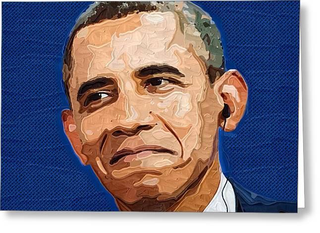 Barack Greeting Cards - Barack Obama Portrait Greeting Card by Victor Gladkiy