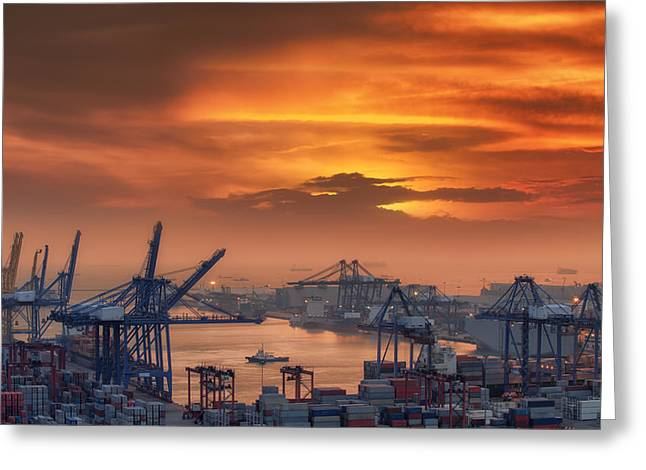 Water Vessels Greeting Cards - Container Cargo freight ship  Greeting Card by Anek Suwannaphoom