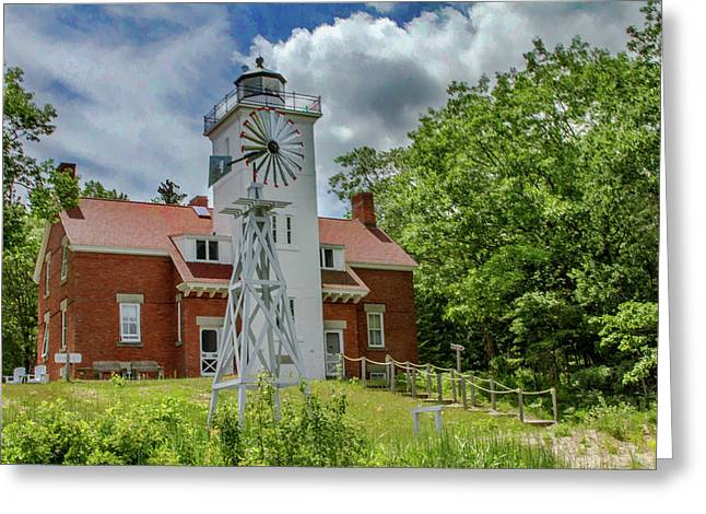 40 Mile Point Lighthouse Greeting Card by Bill Gallagher