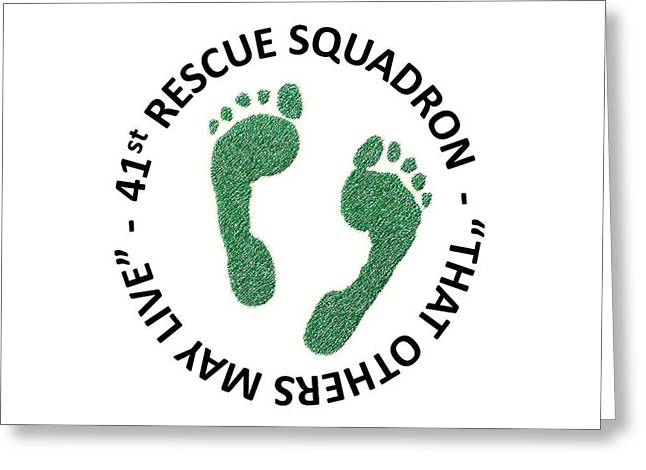 Rescue Drawings Greeting Cards - 41st Rescue Squadron Greeting Card by Julio R Lopez Jr