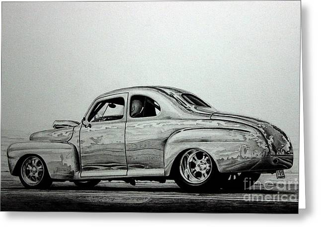 Replacing Greeting Cards - 42 Ford Super Deluxe Coupe  Greeting Card by Gary Reising