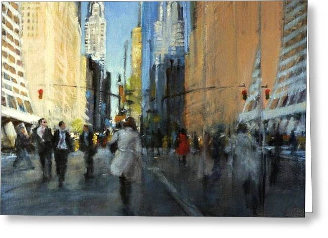 Bryant Paintings Greeting Cards - 42nd Street Reflections Greeting Card by Peter Salwen