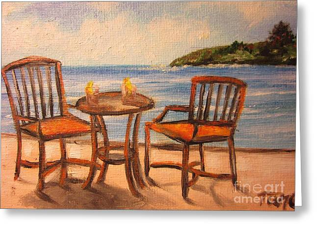 Table And Chairs Greeting Cards - 430 b Please -Relax and Sit Greeting Card by Sigrid Tune