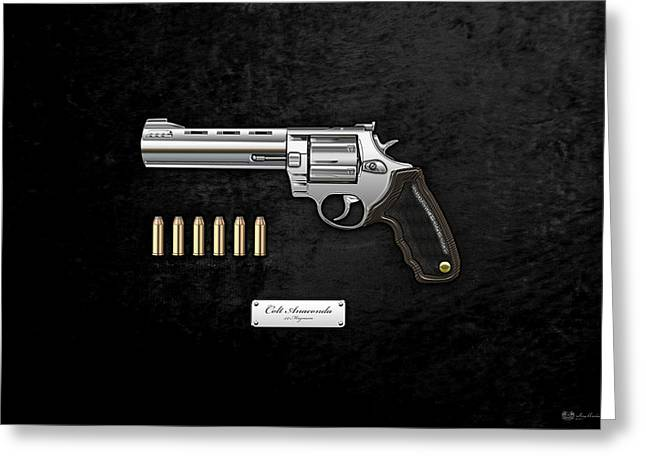 44 Magnum Greeting Cards - .44 Magnum Colt Anaconda with Ammo on Black Velvet  Greeting Card by Serge Averbukh