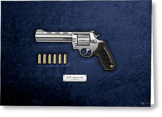 44 Magnum Greeting Cards - .44 Magnum Colt Anaconda with Ammo on Blue Velvet  Greeting Card by Serge Averbukh