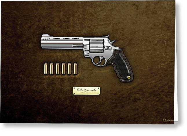 44 Magnum Greeting Cards - .44 Magnum Colt Anaconda with Ammo on Brown Velvet  Greeting Card by Serge Averbukh