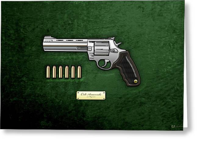 44 Magnum Greeting Cards - .44 Magnum Colt Anaconda with Ammo on Green Velvet  Greeting Card by Serge Averbukh