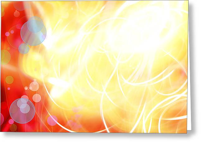 Yellow Background Greeting Cards - Abstract background Greeting Card by Les Cunliffe