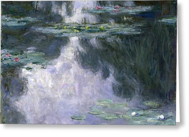 Vintage Painter Greeting Cards - Water Lilies  Greeting Card by Claude Monet