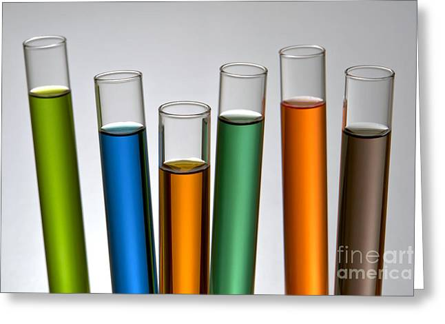 Experiment Photographs Greeting Cards - Laboratory Test Tubes in Science Research Lab Greeting Card by Olivier Le Queinec