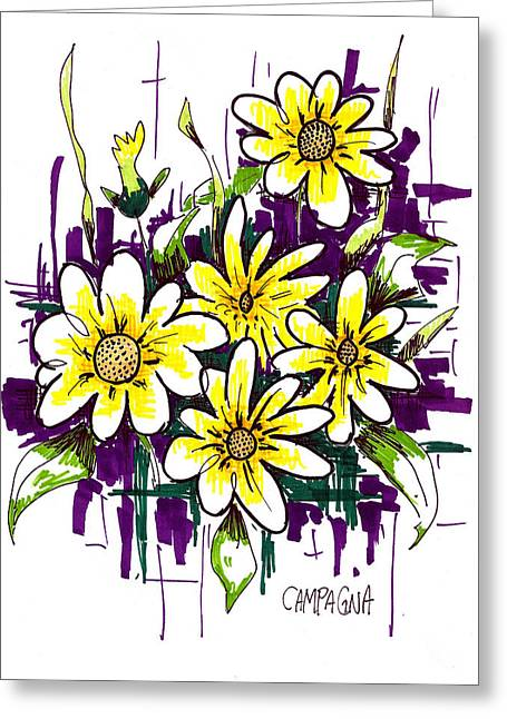 Yellow Line Drawings Greeting Cards - Untitled Greeting Card by Teddy Campagna