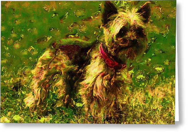 Dog Portraits Digital Art Greeting Cards - Dog Portrait Art Print Greeting Card by Victor Gladkiy