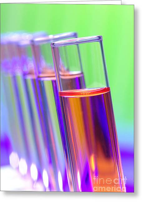 Rack Greeting Cards - Test Tubes in Science Research Lab Greeting Card by Olivier Le Queinec