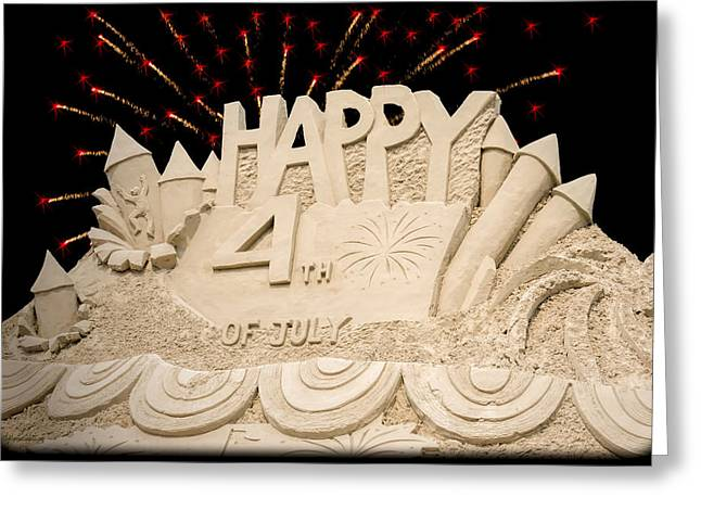 4th July Greeting Cards - 4th Blue Water Sand Sculpture Greeting Card by LeeAnn McLaneGoetz McLaneGoetzStudioLLCcom