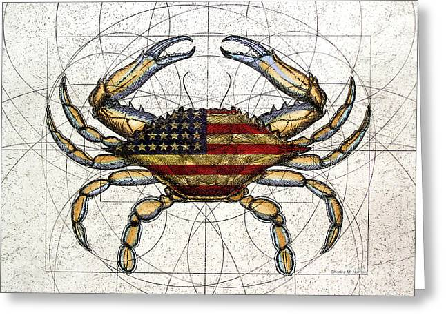 Crab Greeting Cards - 4th of July Crab Greeting Card by Charles Harden