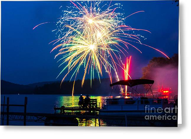 Independance Day Greeting Cards - 4th Of July Finger Lakes Fireworks Greeting Card by John Baumgartner