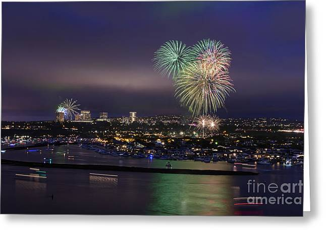 4th Digital Art Greeting Cards - 4th of July Fireworks Greeting Card by Eddie Yerkish