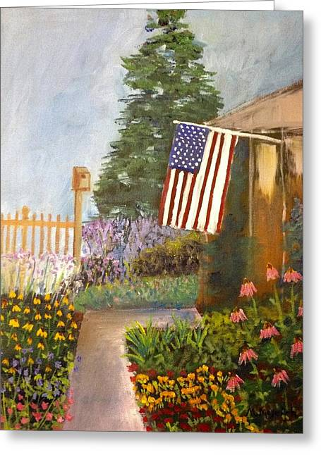 4th July Greeting Cards - 4th Of July Garden Greeting Card by Marita McVeigh