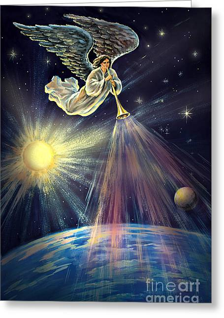 The Leaver Greeting Cards - 4th Trumpet Angel Revelation Eight Twelve Signed Original Painting Greeting Card by Vigovsky
