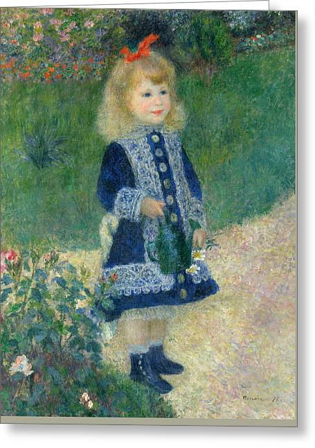A Girl With A Watering Can Greeting Card by Auguste Renoir