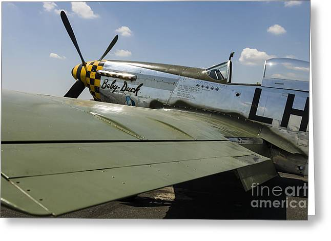 Heritage Foundation Greeting Cards - A P-51 Mustang Parked On The Ramp Greeting Card by Rob Edgcumbe