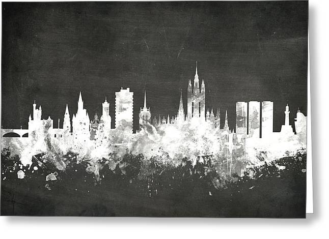 Blackboard Greeting Cards - Aberdeen Scotland Skyline Greeting Card by Michael Tompsett