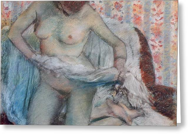 Feminine Pastels Greeting Cards - After the Bath Greeting Card by Edgar Degas