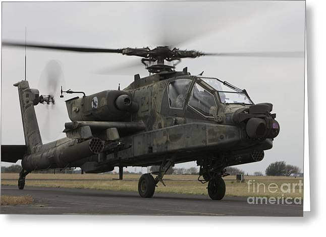Rotary Wing Aircraft Greeting Cards - Ah-64 Apache Helicopter On The Runway Greeting Card by Terry Moore