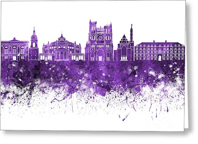 Amiens Greeting Cards - Amiens skyline in watercolor background Greeting Card by Pablo Romero