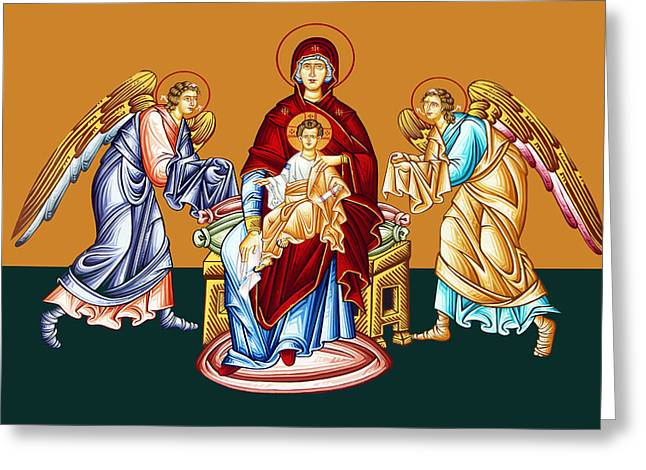 Orthodox Paintings Greeting Cards - Angels Greeting Card by Munir Alawi