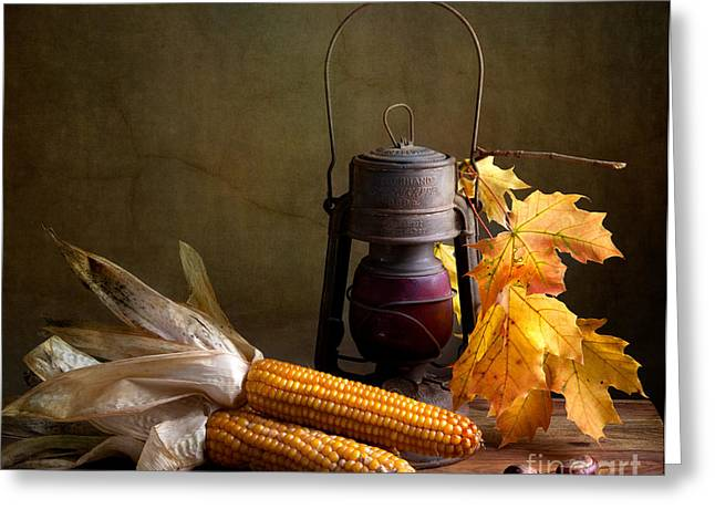 Corn Greeting Cards - Autumn Greeting Card by Nailia Schwarz