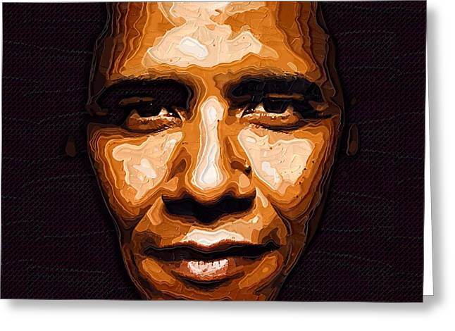 Barack Digital Art Greeting Cards - Barack Obama Portrait Greeting Card by Victor Gladkiy