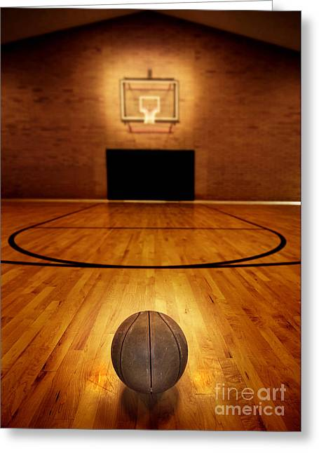 Basket Ball Game Greeting Cards - Basketball and Basketball Court Greeting Card by Lane Erickson