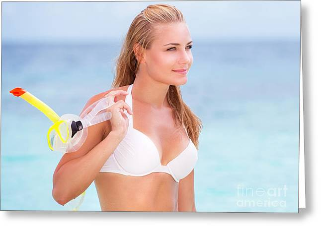 Snorkel Greeting Cards - Beautiful model on the beach Greeting Card by Anna Omelchenko