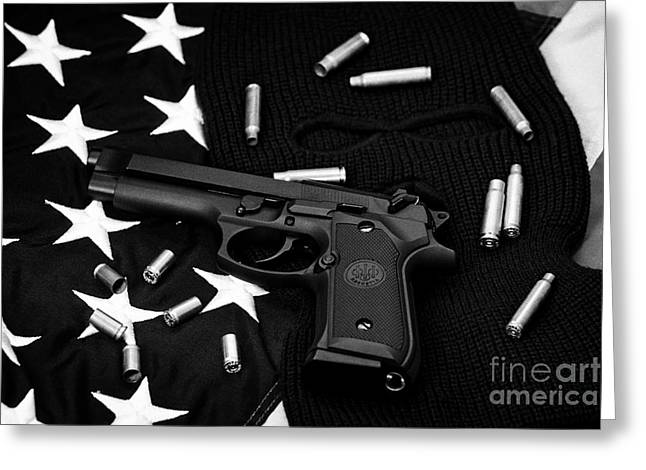 Balaclava Greeting Cards - Beretta Handgun Lying On Balaclava And United States Of America Flag Greeting Card by Joe Fox