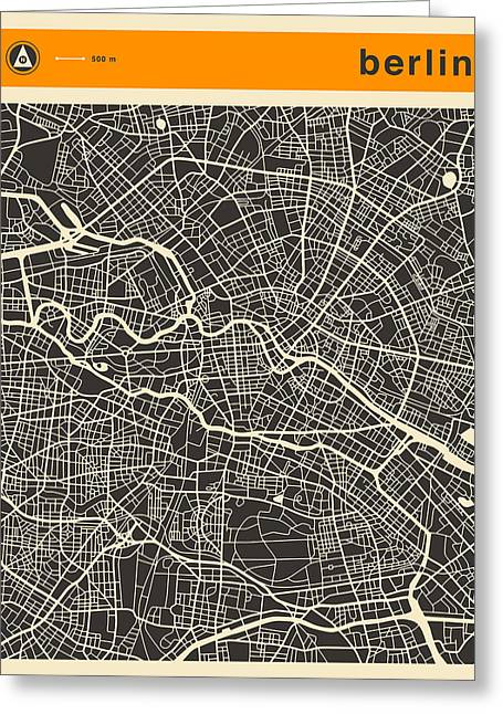 Berlin Germany Greeting Cards - Berlin Map Greeting Card by Jazzberry Blue