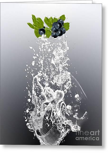 Blueberry Splash Greeting Card by Marvin Blaine