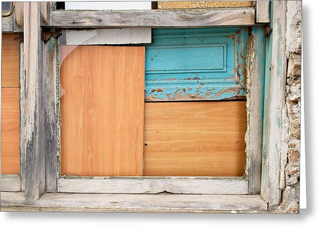 Abandoned House Greeting Cards - Boarded up window Greeting Card by Tom Gowanlock