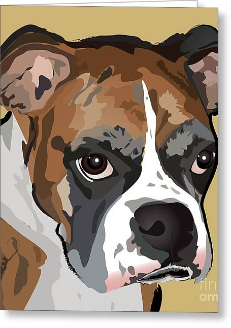 Puppies Digital Greeting Cards - Boxer Dog Portrait Greeting Card by Robyn Saunders