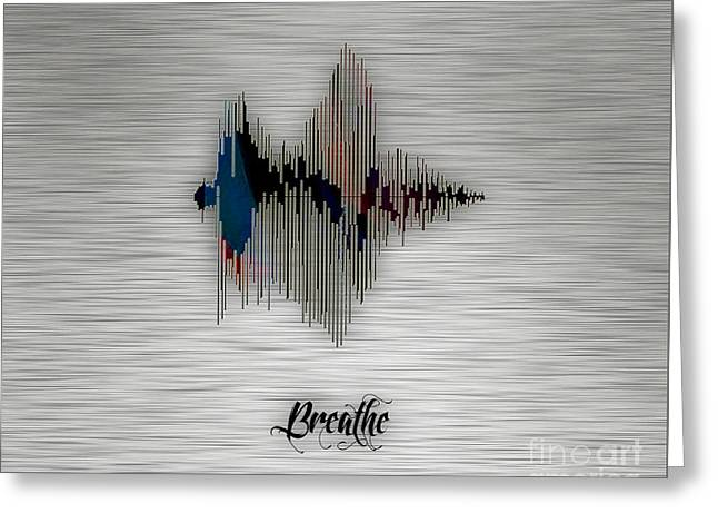 Inspiration Greeting Cards - Breathe Spoken Soundwave Greeting Card by Marvin Blaine