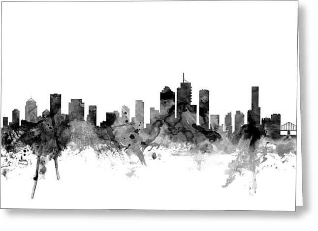 Brisbane Australia Skyline Greeting Card by Michael Tompsett