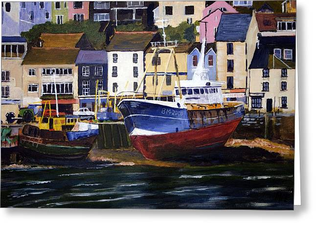 Brixham Harbour Greeting Card by Mike Lester