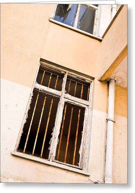 Anti Photographs Greeting Cards - Broken window Greeting Card by Tom Gowanlock